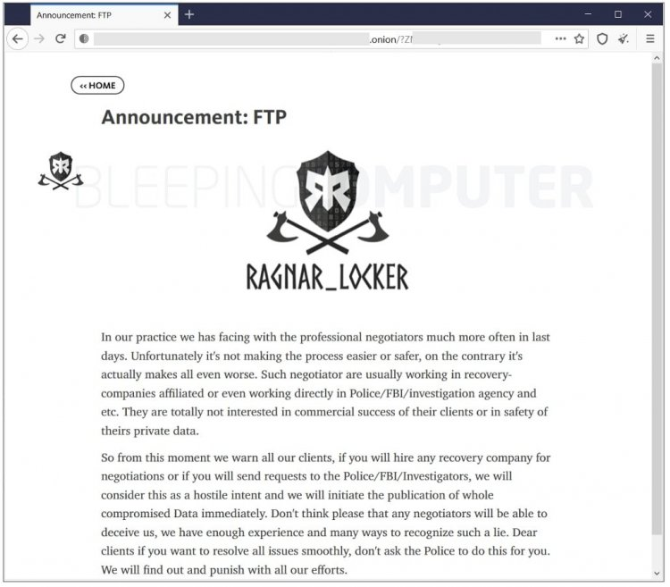 Ragnar Locker ransomware group posts warning on their darknet leak site   Image Credits: BleepingComputer